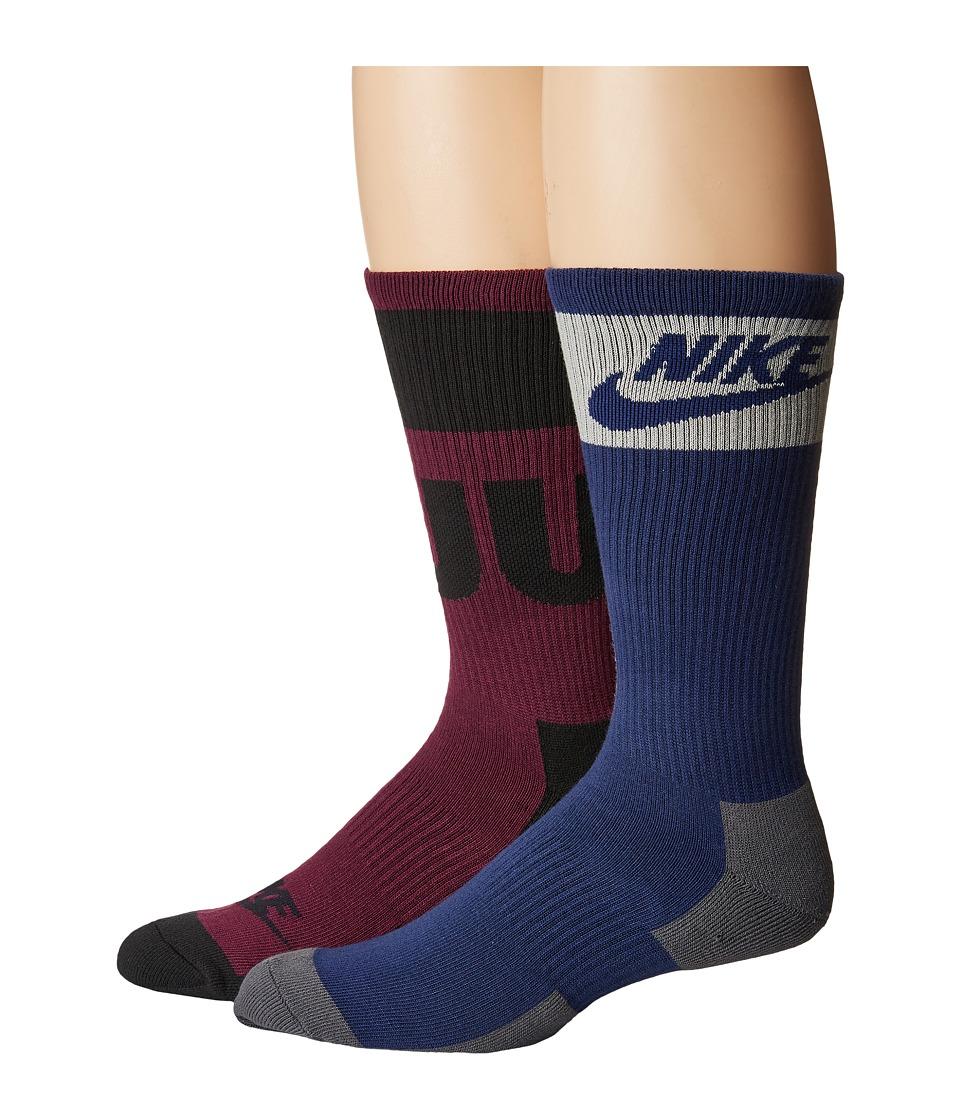 Nike - Just Do It Crew 2-Pair Pack (Multicolor 5) Men's Crew Cut Socks Shoes