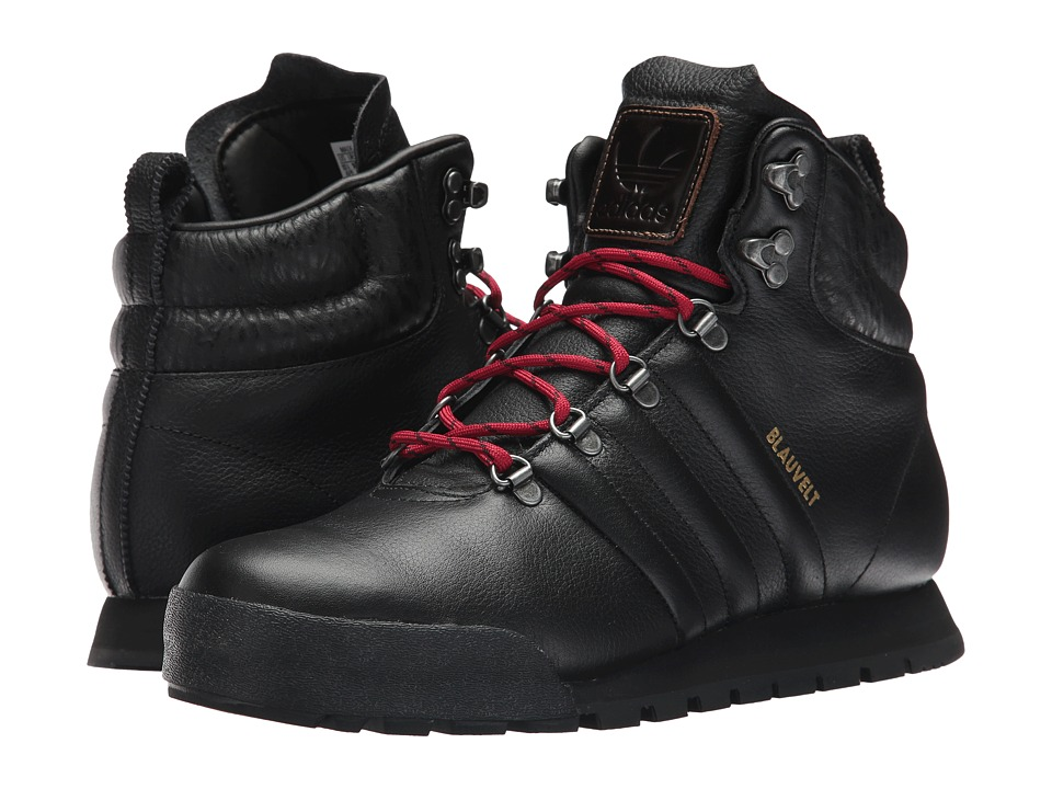 adidas Skateboarding - Jake Boot (Black/Black/University Red Leather) Mens Lace-up Boots