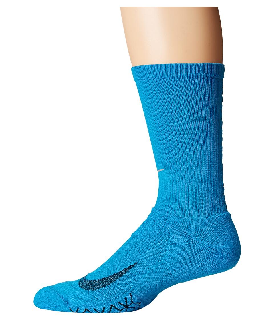 Nike - Elite Running Cushion Crew Socks (Light Blue Lacquer/Black) Crew Cut Socks Shoes