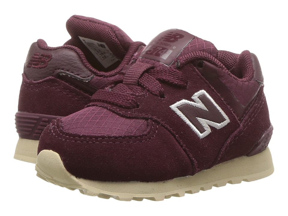 New Balance Kids KL574v1I (Infant/Toddler) (Burgundy/Tan) Girls Shoes