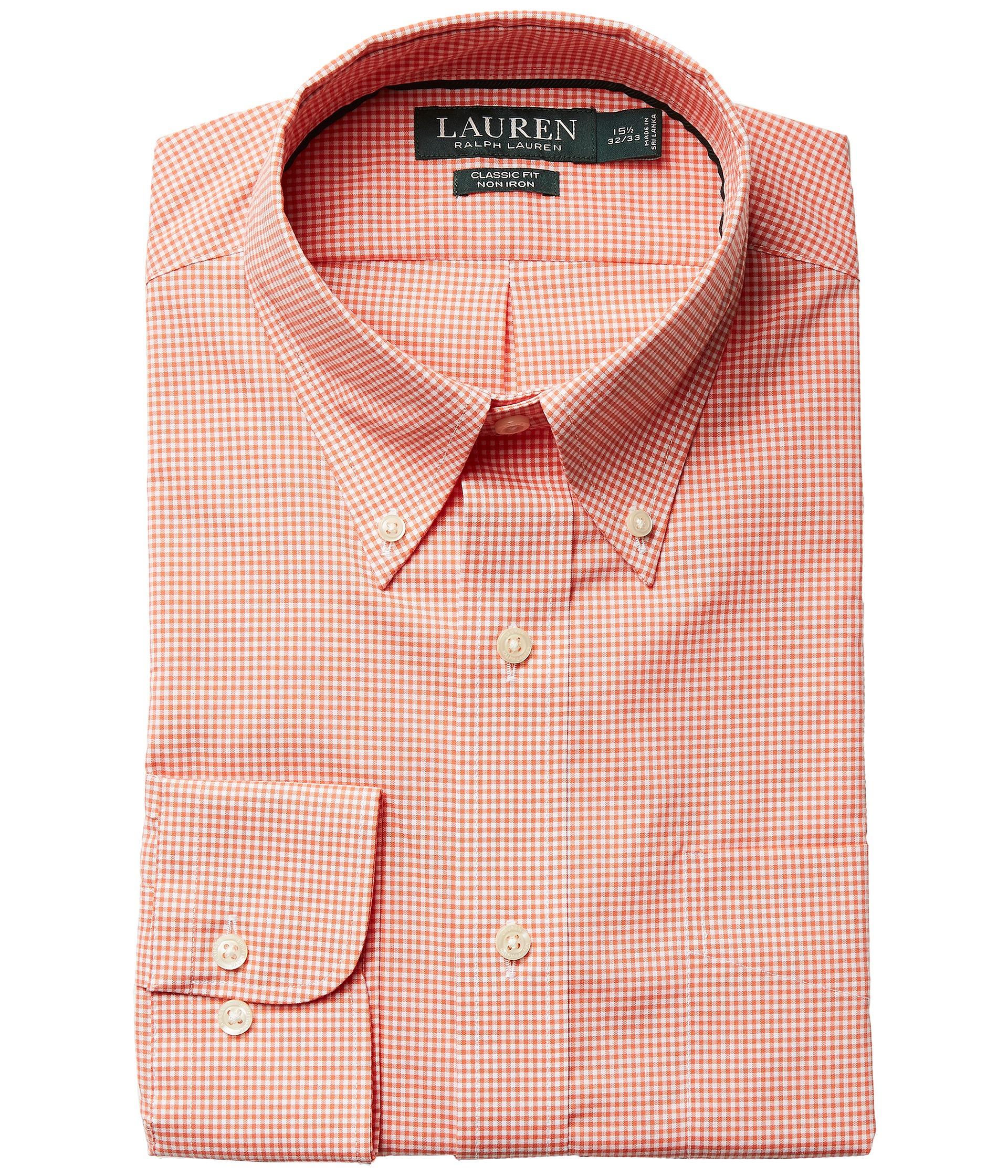 Lauren ralph lauren classic fit non iron gingham plaid for Dress shirt collar fit