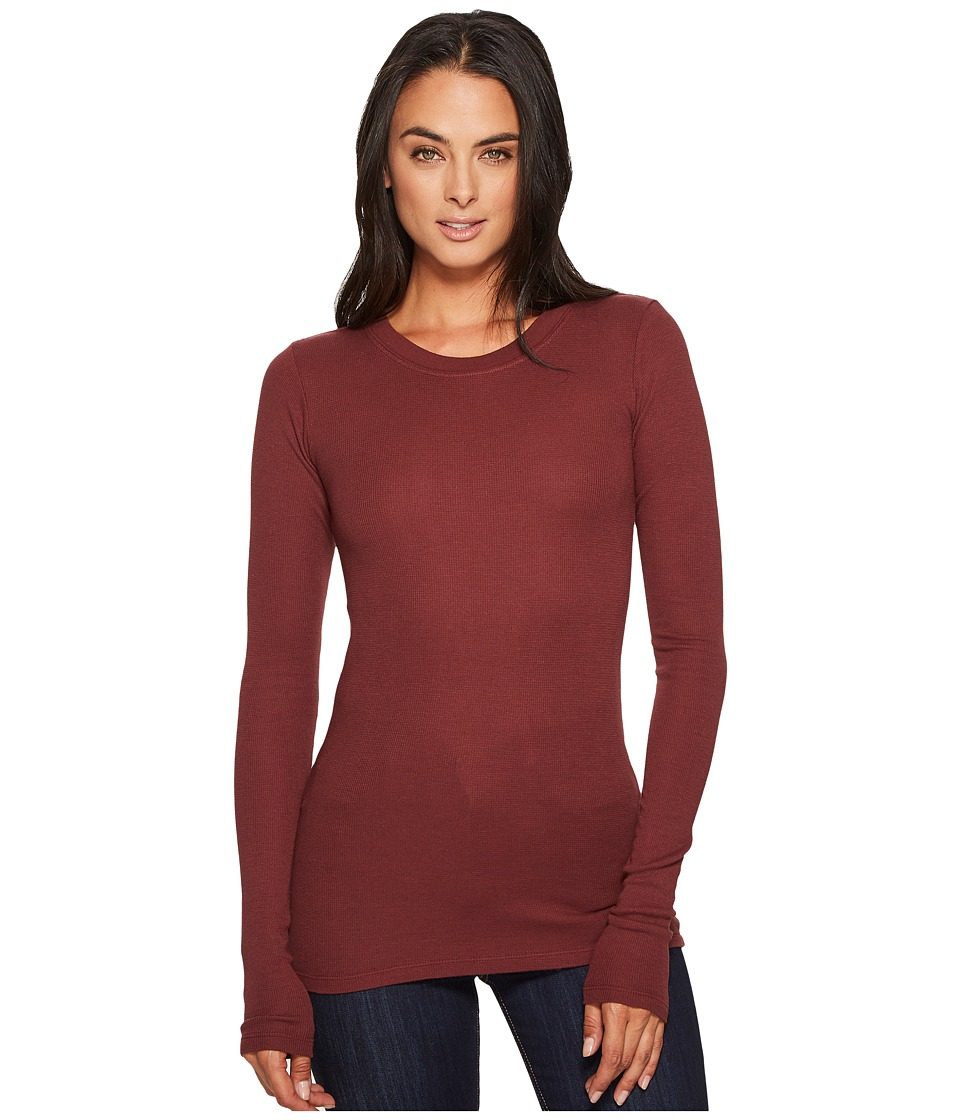 LAmade - Long-Sleeve Crewneck Thermal Top (Rum Raisin) Womens Long Sleeve Pullover