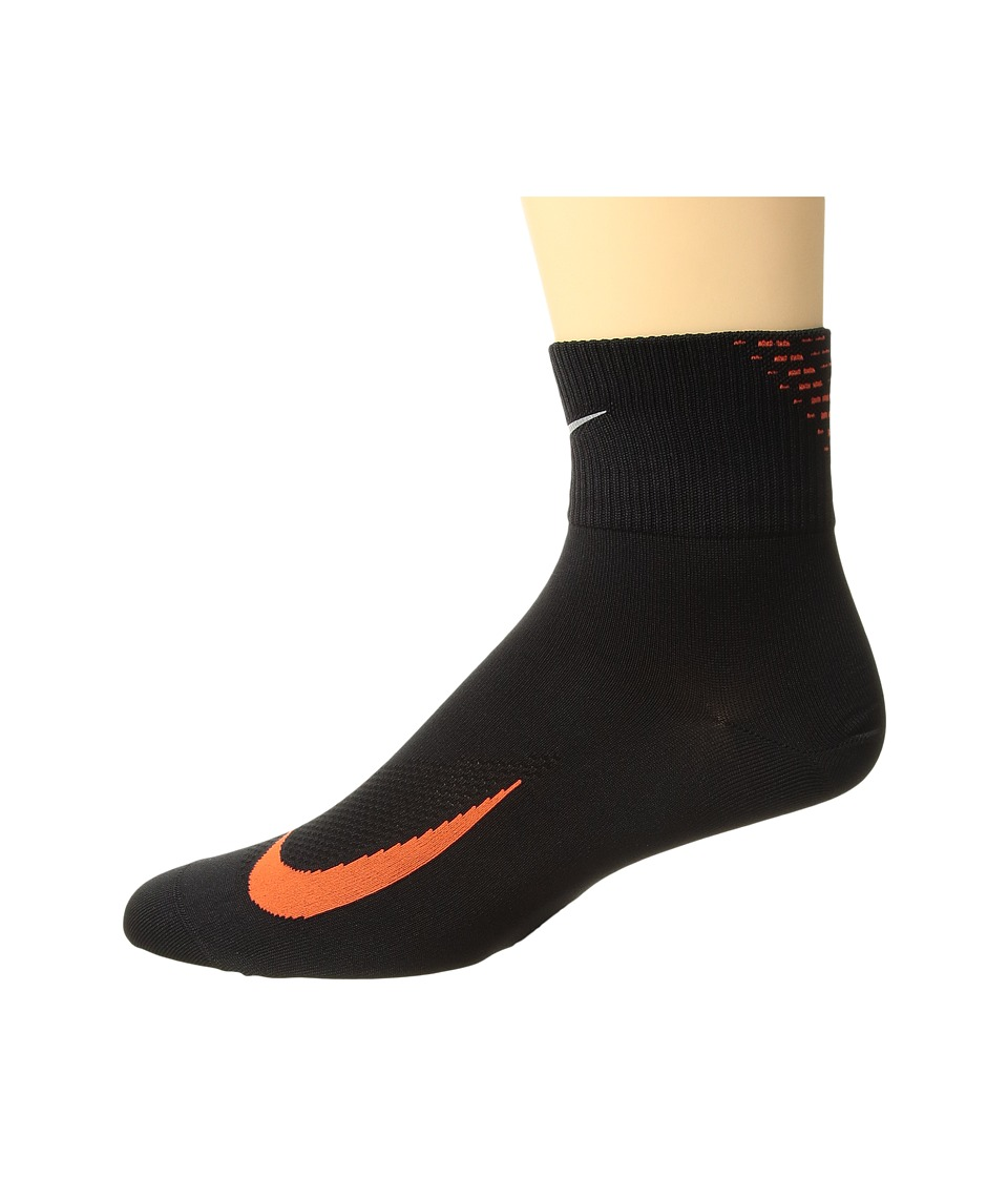 Nike - Elite Run Lightweight 2.0 Quarter (Black/Team Orange) Quarter Length Socks Shoes