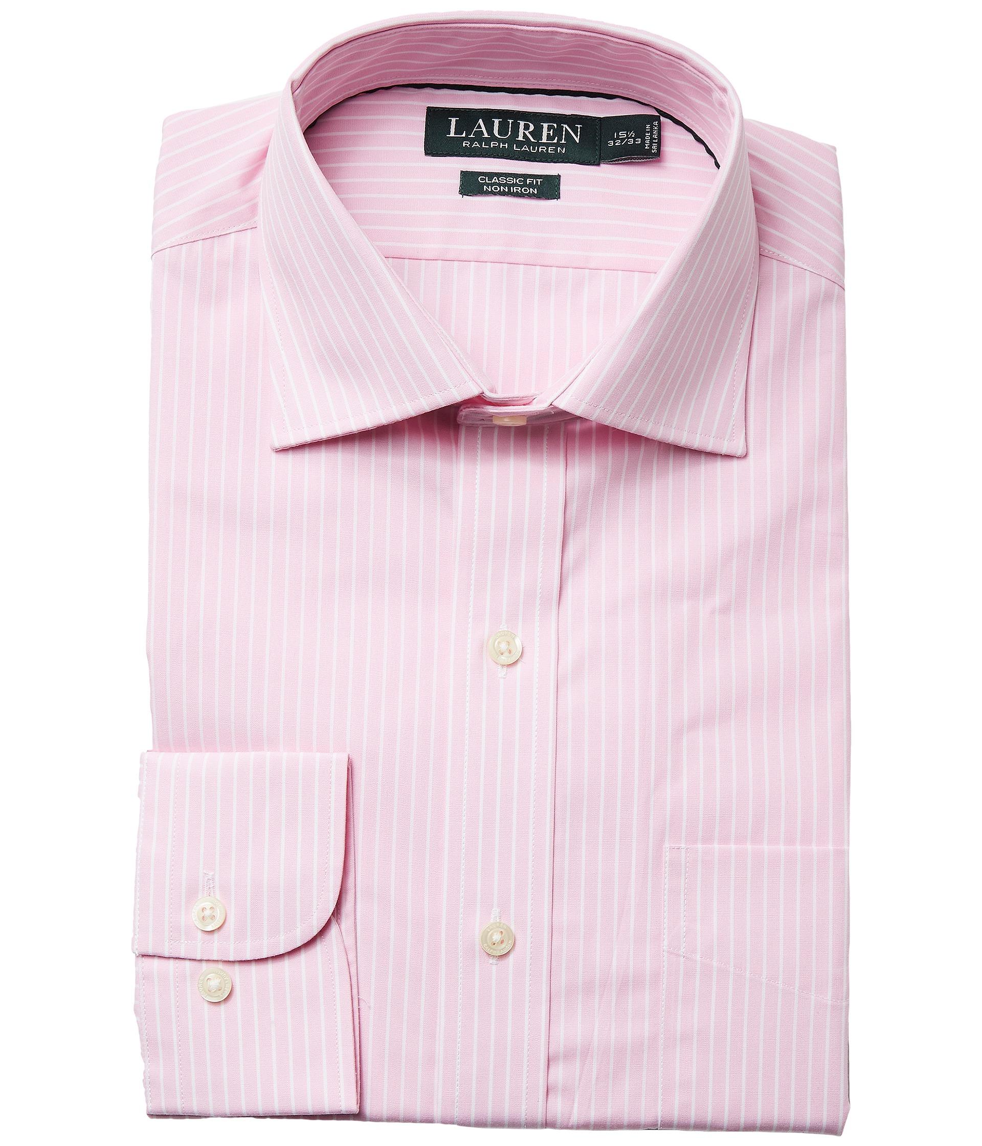 LAUREN Ralph Lauren Classic Fit Non Iron Poplin Stripe Spread Collar Dress Shirt