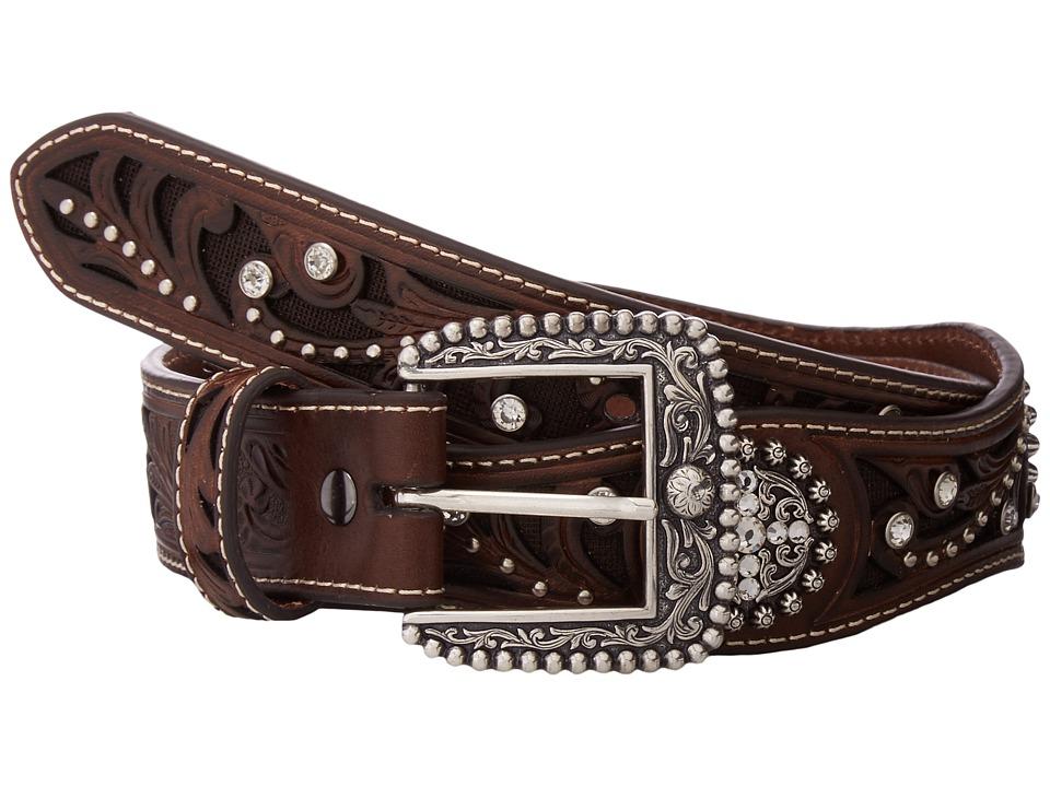 Ariat Scalloped Inlay Rhinestone Belt (Brown) Women's Belts