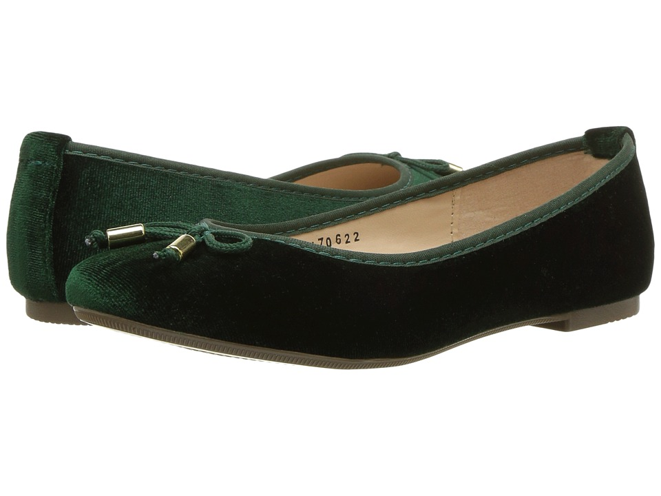 Kid Express Gigi (Little Kid/Big Kid) (Olive Green Velvet) Girl's Shoes