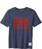 The Original Retro Brand Kids - Short Sleeve Heather USA Tee (Big Kids)