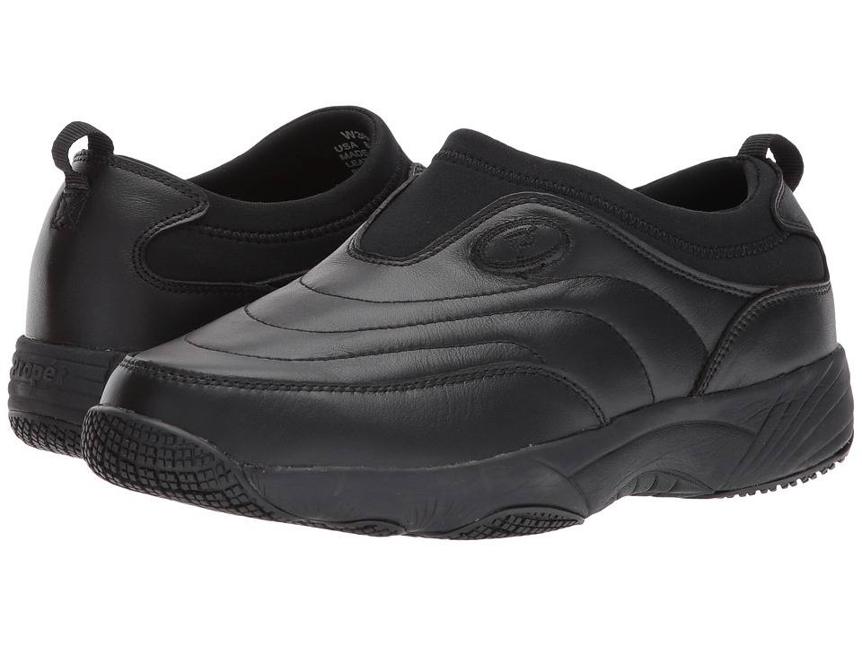 Propet Wash Wear Slip-On II (Black Leather) Women's Shoes