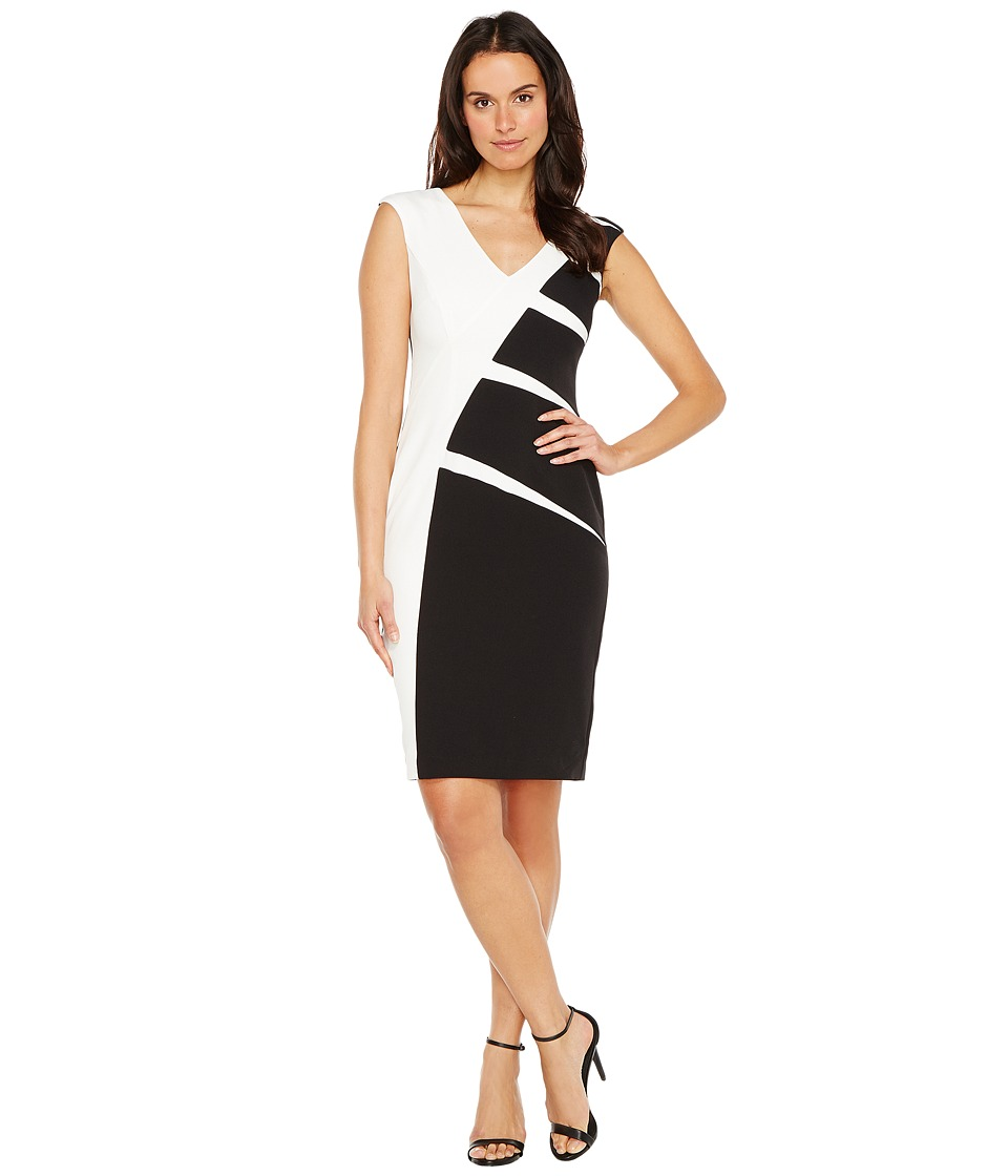 Adrianna Papell Stripe Crepe Color Blocked Sheath Dress (...
