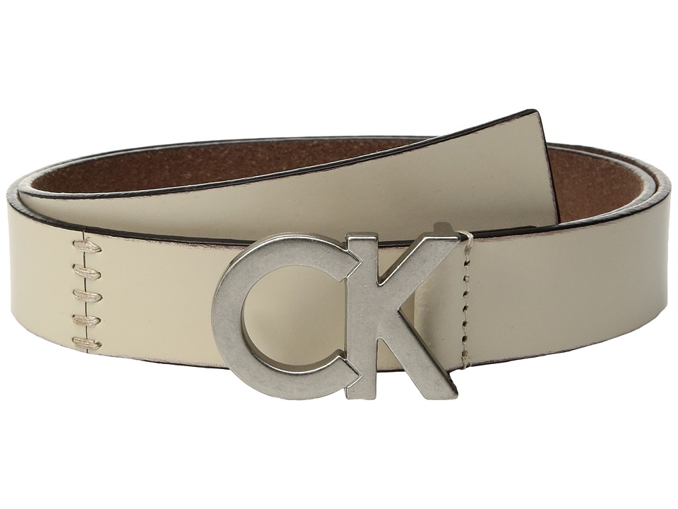 Calvin Klein 30mm Flat Strap w/ Seams Lacing (Ivory/Tumbled Nickel) Women