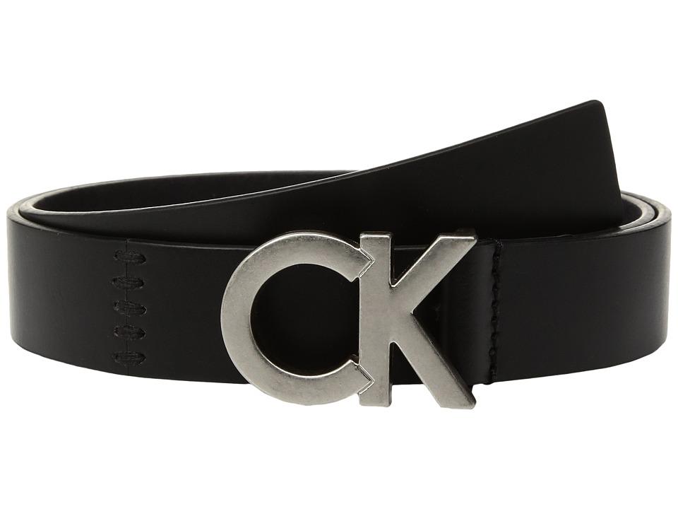 Calvin Klein 30mm Flat Strap w/ Seams Lacing (Black/Tumbled Nickel) Women