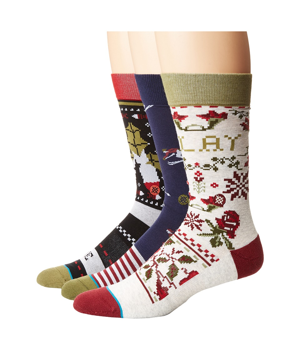 Stance - Holiday 3-Pack (Multi) Men's Crew Cut Socks Shoes