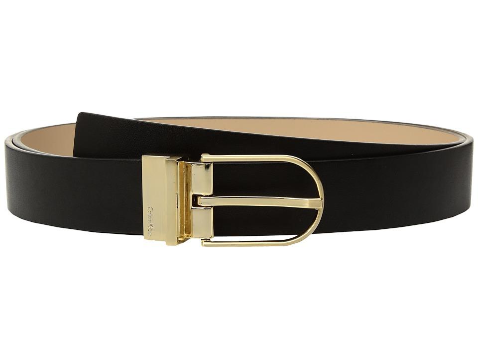 Calvin Klein 32mm Reversible Belt w/ Harness Buckle (Black/Nude/Brushed Gold) Women
