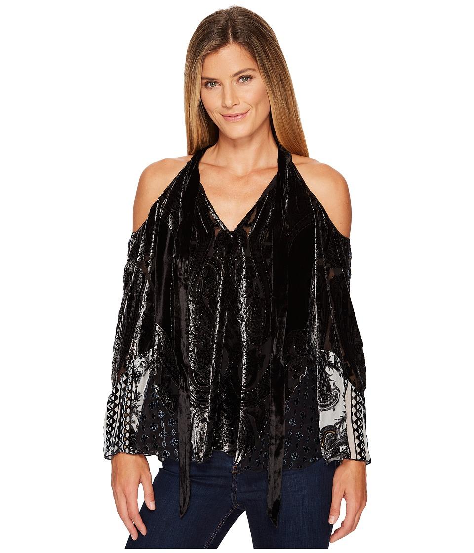 Hale Bob - Creative License Silk with Burnout Velvet Cold Shoulder Top