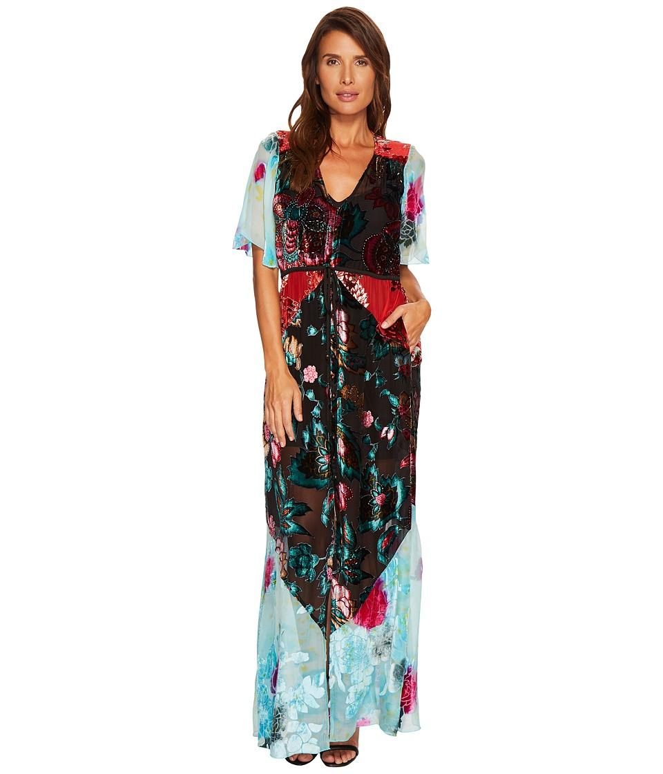 Hale Bob Masterpiece Theatre Silk Velvet Burnout Off Maxi Dress (Teal) Women