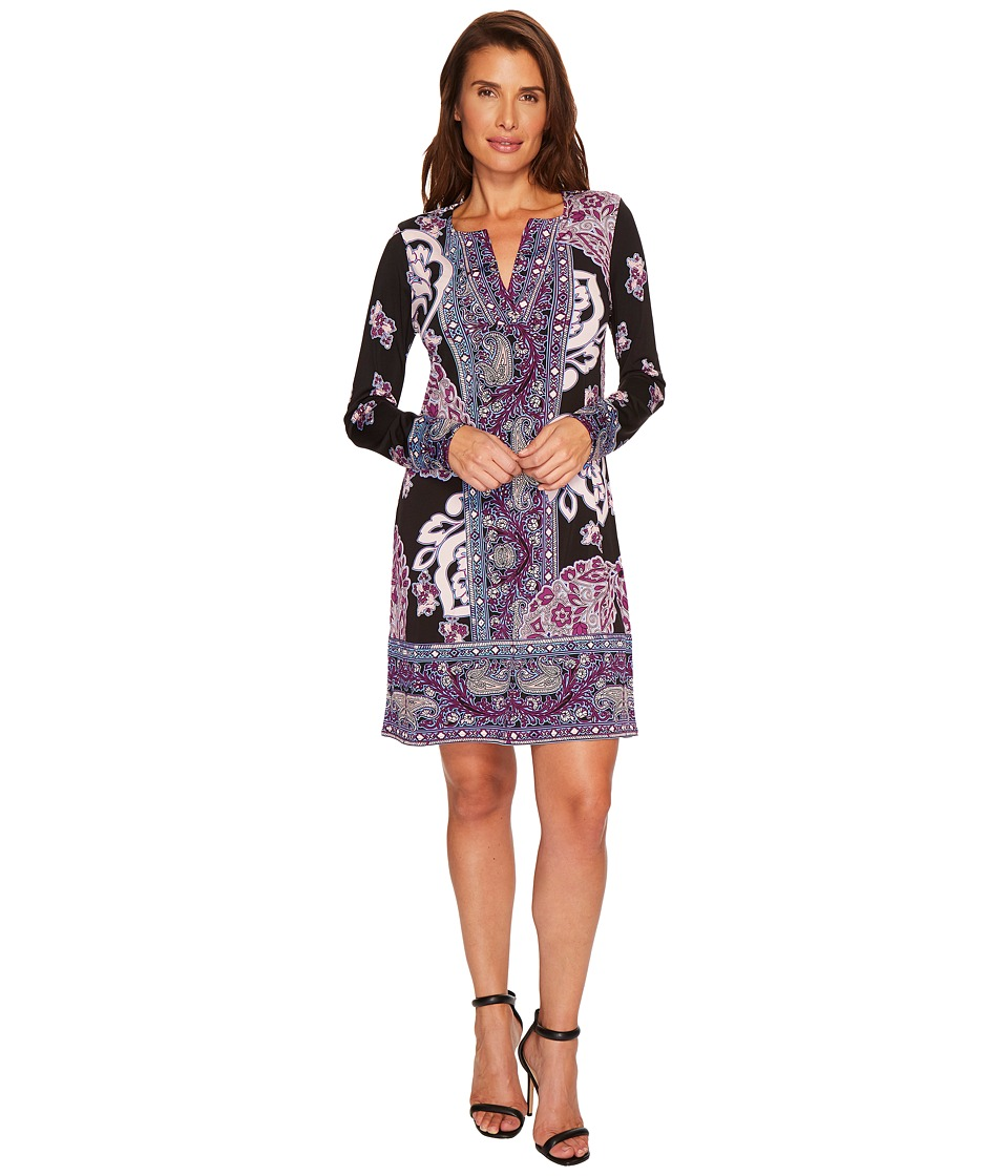Hale Bob Fire Cracker Matte Microfiber Dress (Black) Women