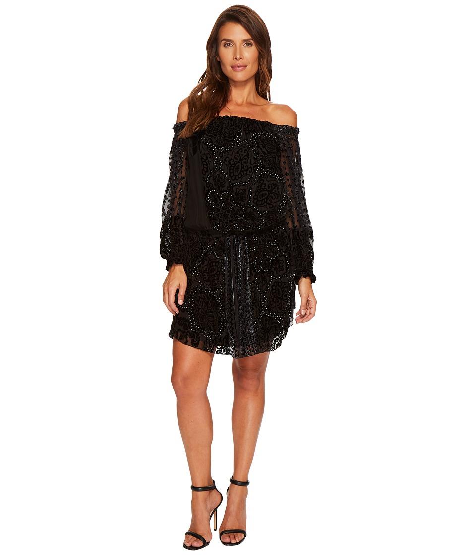 Hale Bob Masterpiece Theatre Silk Velvet Burnout Off Shoulder Dress (Black) Women