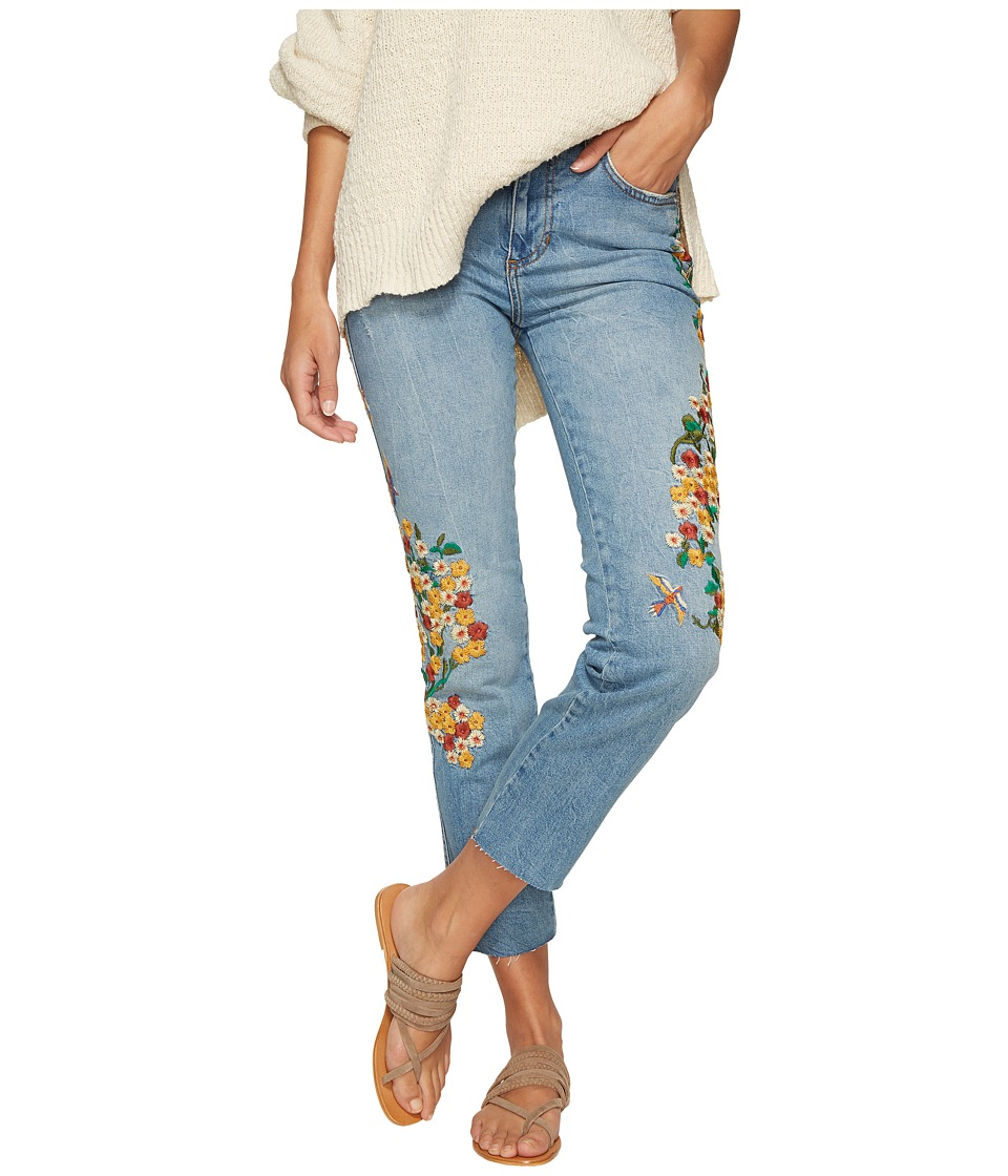 Free People Embroidered Girlfriend Jeans (Light Denim) Women