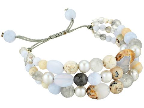 Chan Luu Three-Tier Pearl Bracelet - Blue Lace Agate Mix