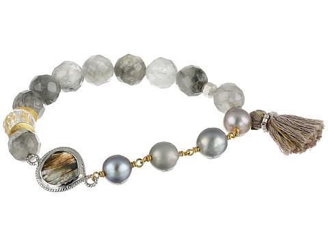 Chan Luu Stretch Bracelet w/ Tassel & Semi Precious Stone - Grey Pearl Mix
