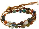Single Wrap Bracelet w/ Double Tiered, Multi Stones