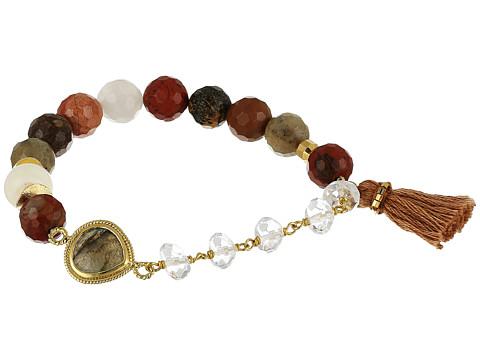 Chan Luu Stretch Bracelet w/ Tassel & Semi Precious Stone - Multi Mix