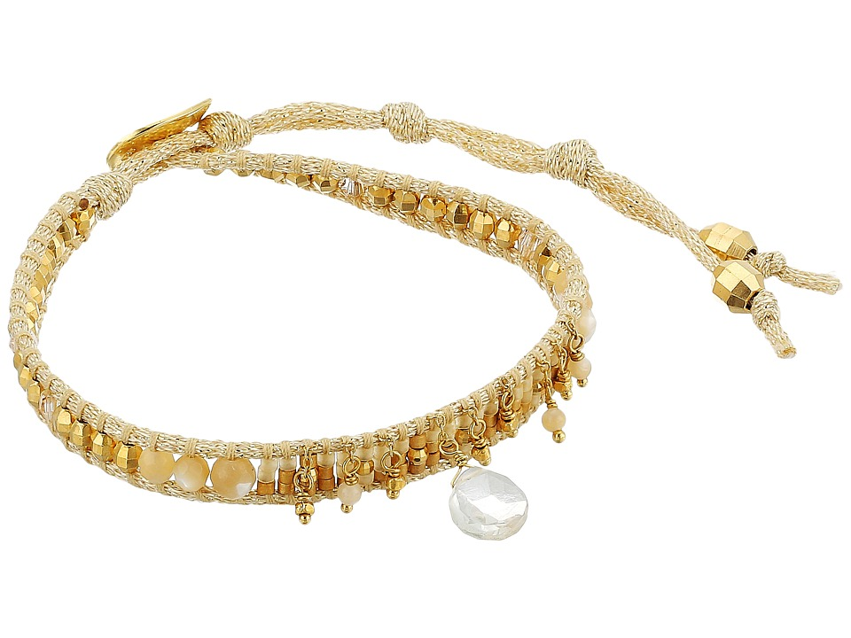 Chan Luu - 18k Gold Plated Sterling Silver 6 Bracelet w/ Drop Semi Precious Stone Crystals