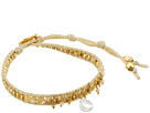 "18k Gold Plated Sterling Silver 6"" Bracelet w/ Drop Semi Precious Stone & Crystals"