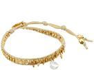 Chan Luu 18k Gold Plated Sterling Silver 6 Bracelet w/ Drop Semi Precious Stone Crystals