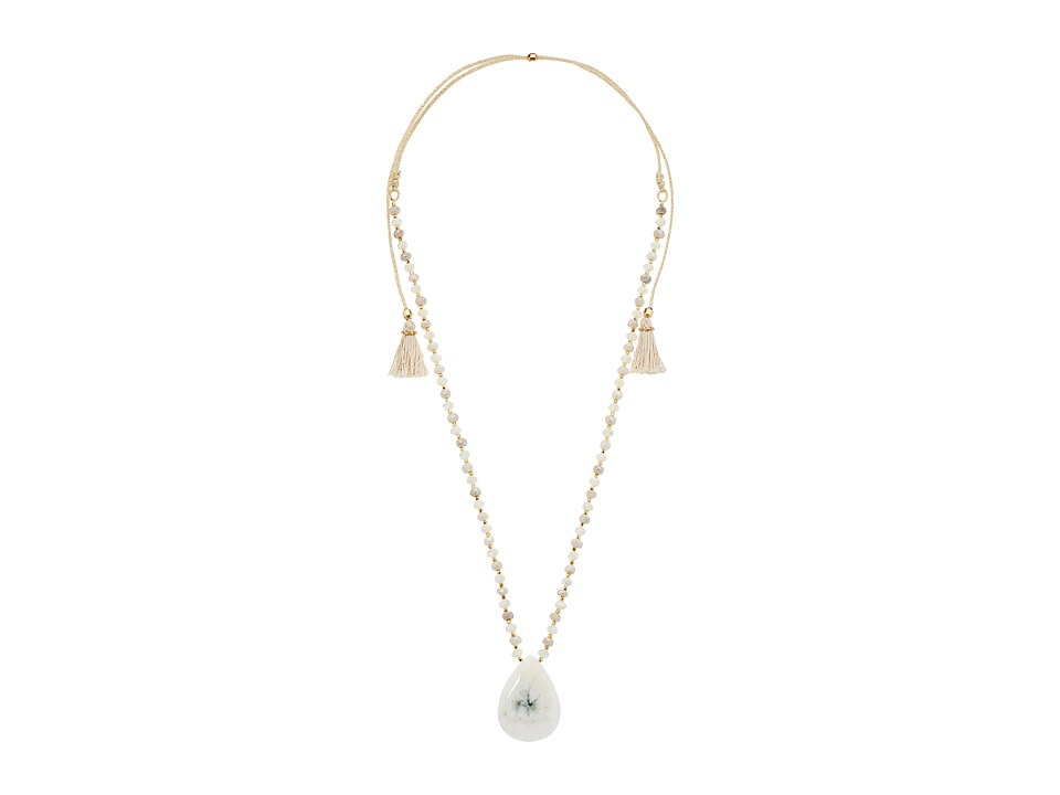 Chan Luu - 18k Gold Plated Sterling Silver Adjustable Necklace w/ Tassels Drop Semi Precious Stone