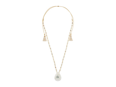 Chan Luu 18k Gold Plated Sterling Silver Adjustable Necklace w/ Tassels & Drop Semi Precious Stone - White Mix