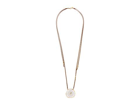 Chan Luu 18k Gold Plated Sterling Silver Necklace On Leather w/ Solar Quartz Stone - Solar Quartz