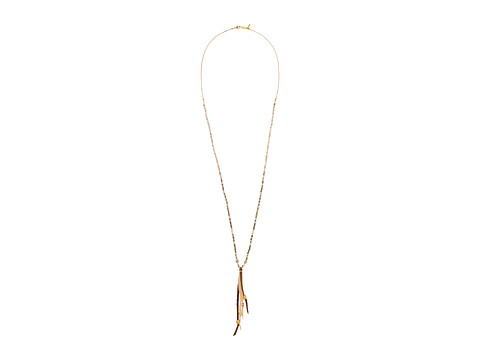 Chan Luu 18k Gold Plated Sterling Silver Necklace w/ Pink Beads & Leather Tassels - Pink Mix