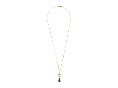 Chan Luu 18k Gold Plated Sterling Silver Necklace w/ Marquise, Rectangle & Agate Semi Precious Stone - Lab Mix