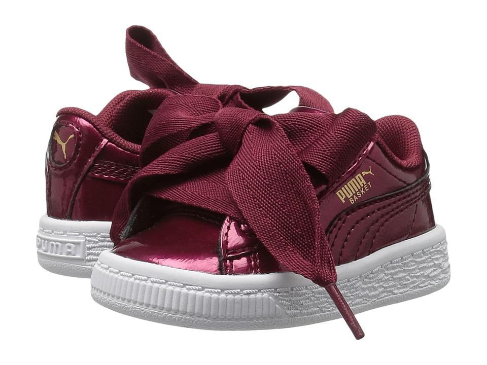 Puma Kids Basket Heart Glam (Toddler) (Tibetan Red/Tibetan Red) Girls Shoes