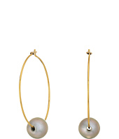 Chan Luu - 18k Gold Plated Sterling Silver Hoop Earrings w/ Single Fresh Water Cultured Pearl