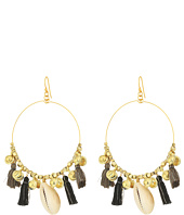 Chan Luu - Base Metal Earrings w/ Cotton Tassels & Shells