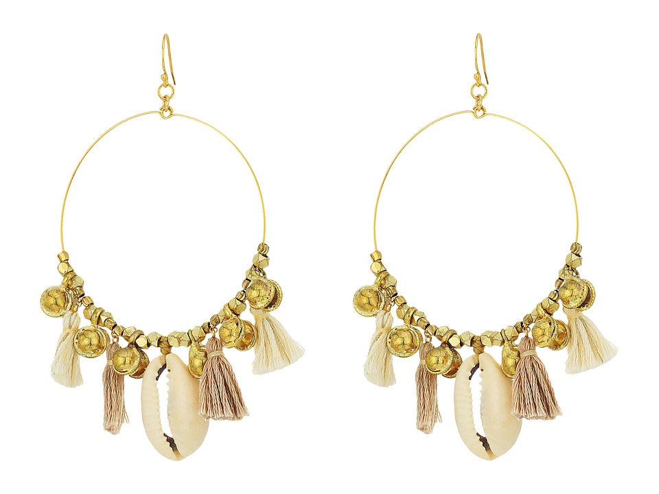 Chan Luu - Base Metal Earrings w/ Cotton Tassels Shells