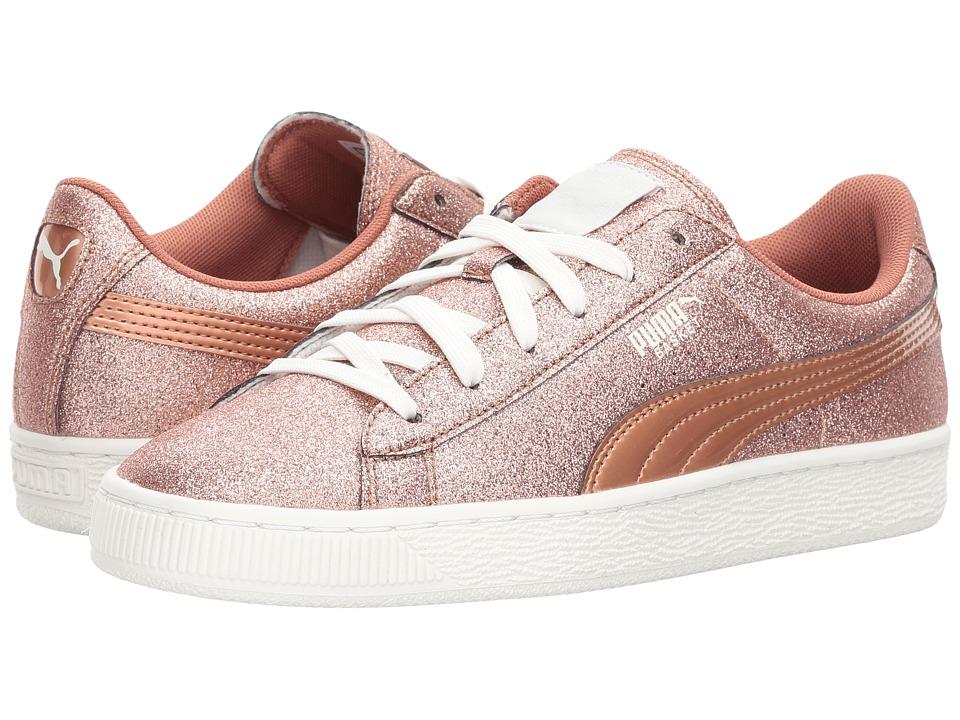 Puma Kids Basket Holiday Glitz (Big Kid) (Copper Rose) Girls Shoes