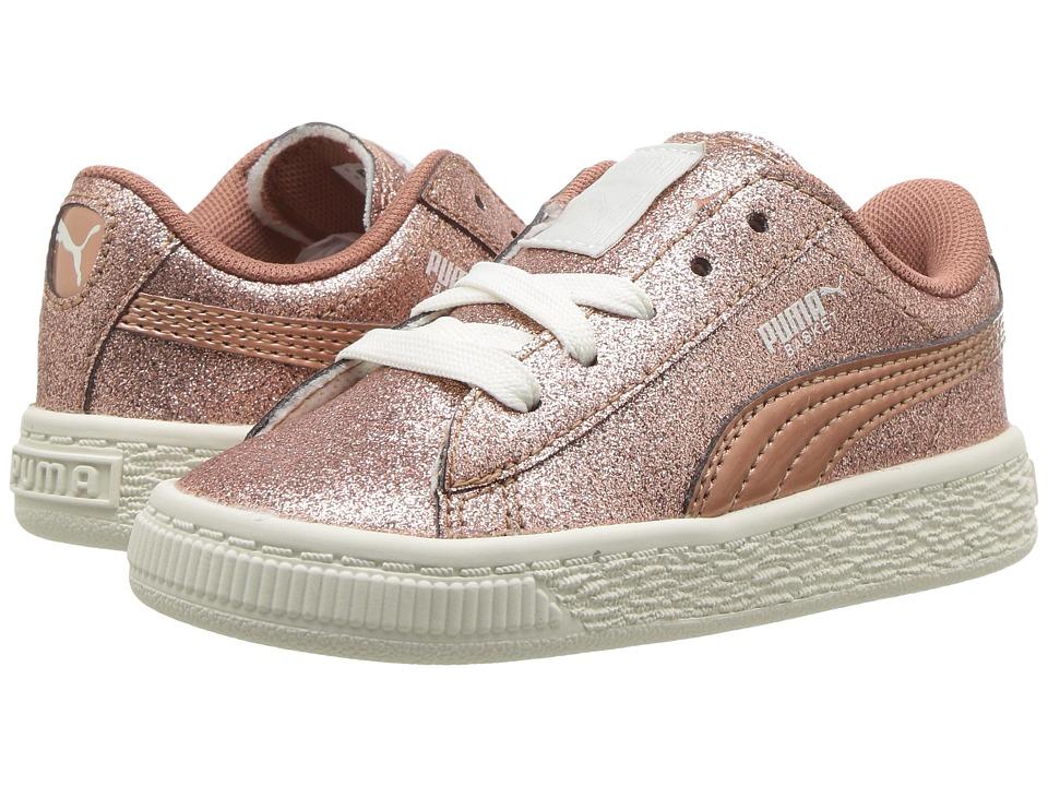 Puma Kids Basket Holiday Glitz (Toddler) (Copper Rose) Girls Shoes