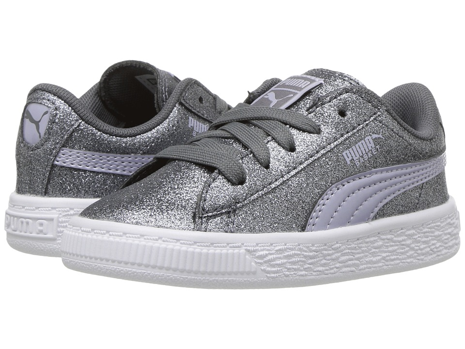 Puma Kids Basket Holiday Glitz (Toddler) (Quiet Shade) Girls Shoes