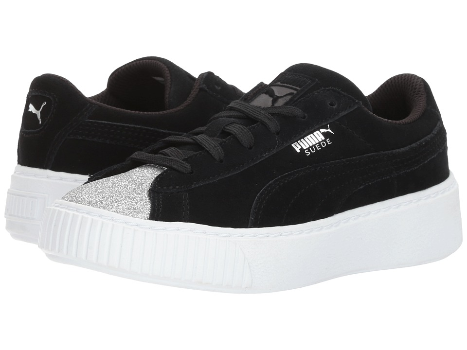 Puma Kids Suede Platform Glam (Little Kid/Big Kid) (Puma Silver/Puma Black) Girls Shoes