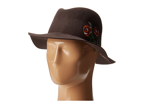 San Diego Hat Company WFH8051 Floppy Round Crown with Floral Embroidery - Brown