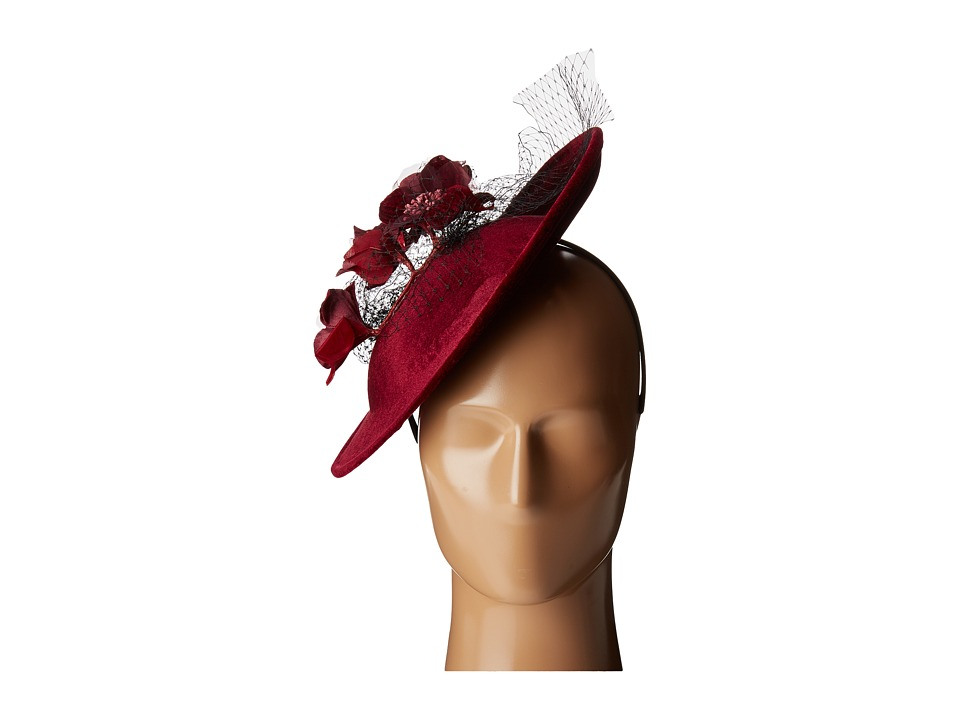 1950s Women's Hat Styles & History San Diego Hat Company - DRS3558 Dressy Derby Hat Burgundy Caps $66.00 AT vintagedancer.com