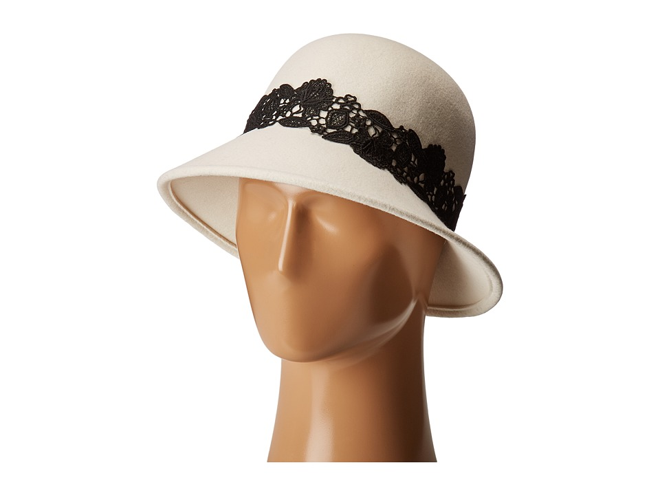 1920s Style Hats San Diego Hat Company - WFH8037 Cloche with Black Lace Trim Ivory Caps $49.99 AT vintagedancer.com