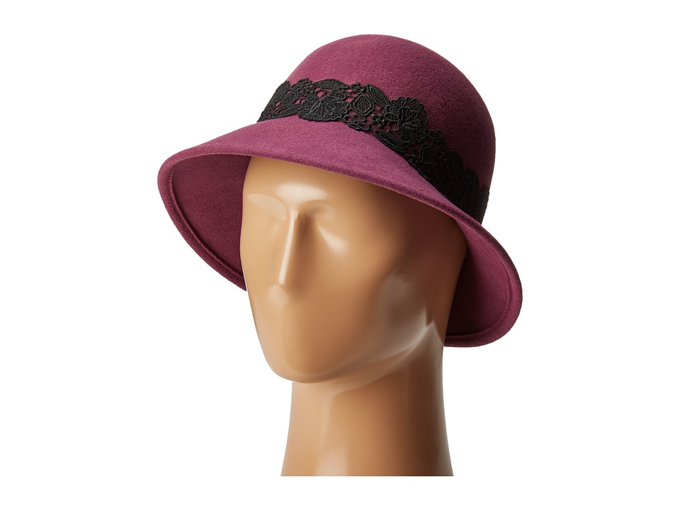 San Diego Hat Company - WFH8037 Cloche with Black Lace Trim (Magenta) Caps