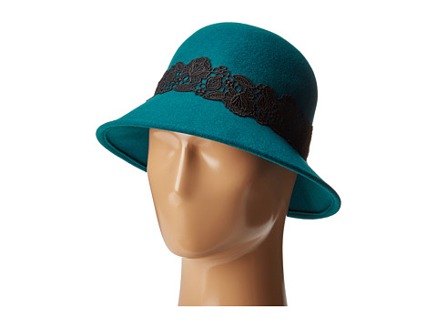 San Diego Hat Company WFH8037 Cloche with Black Lace Trim - Teal