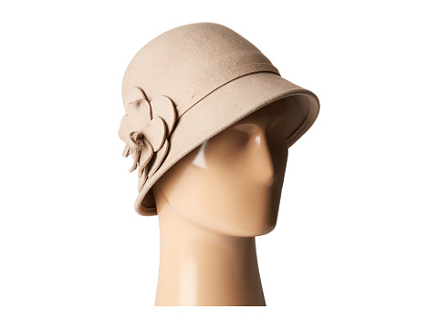 San Diego Hat Company WFH8035 Cloche with Matching Wool Flower - Tan