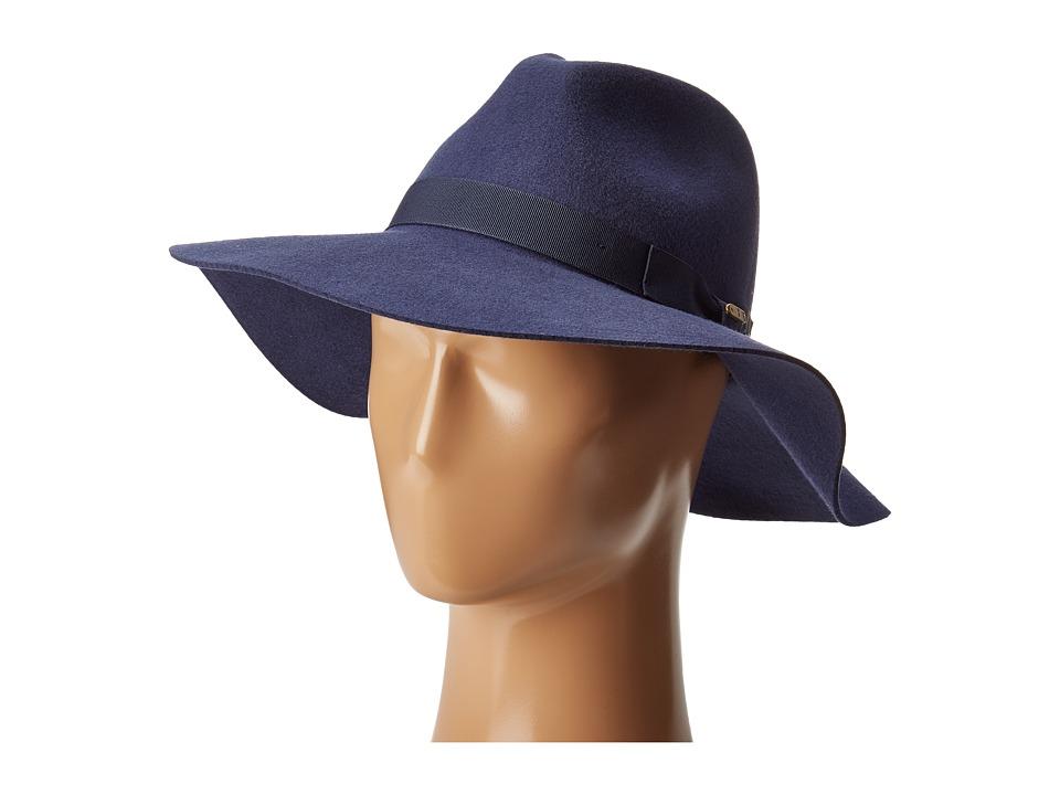 San Diego Hat Company - WFH8049 Wide Flat Brim Fedora (Indigo) Fedora Hats