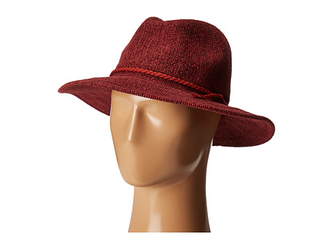 San Diego Hat Company CTH8078 Knit Fedora with Braided Faux Suede - Wine